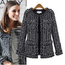 Women Plaid Jacket Outerwear 2020 Women Fashion Coat Autumn Winter Thin Black Checkered Twe
