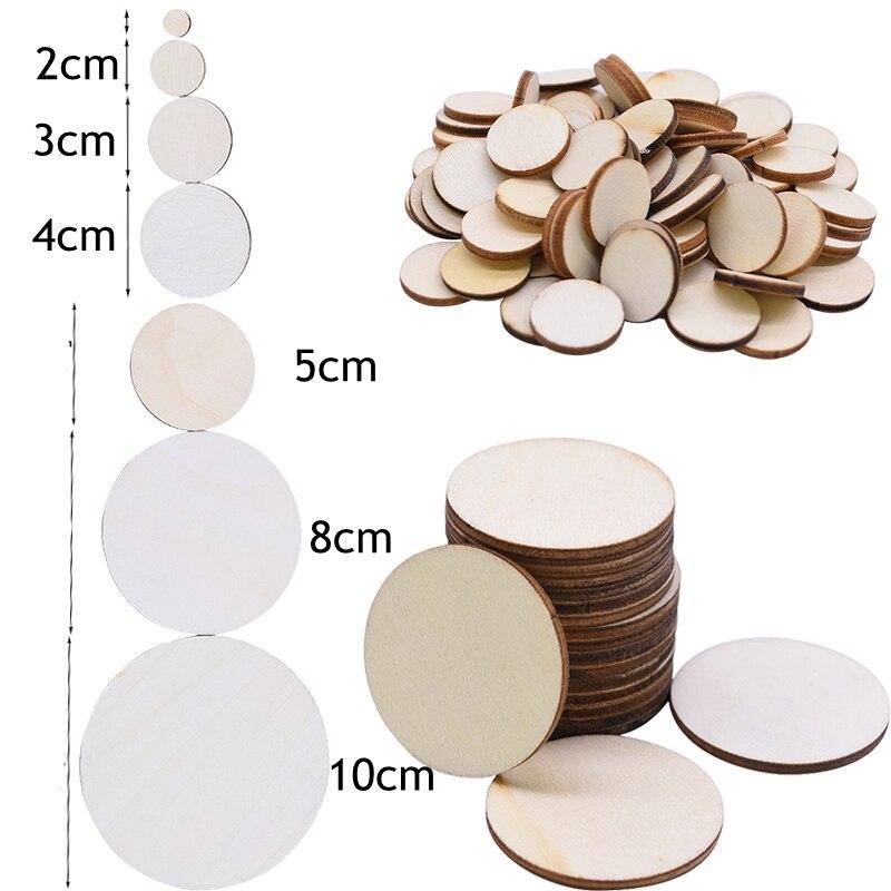 1 см-10 см натуральные сосновые круглые необработанные деревянные кусочки, круги сплошного цвета для деревянных поделок, свадьбы, дня рожден...