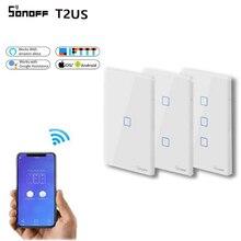 SONOFF T2US TX Wifi commutateur de lumière tactile de mur intelligent avec frontière maison intelligente 1/2/3 Gang 433 RF/voix/APP contrôle fonctionne avec Alexa