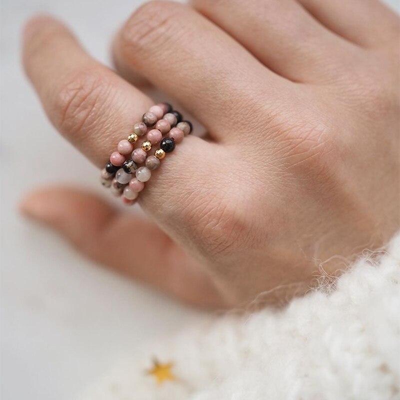 Momiji pedra natural anéis boêmio grânulo jóias multi cor artesanal moda presente feminino meninas anéis de casamento elástico ajustável|Anéis|   -