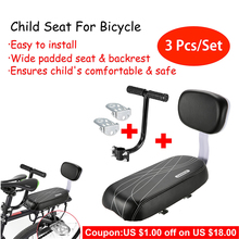 3Pcs/Set Bike Saddle Child Back Seat For Bicycle Safety Rear With Handle Armrest Footrest Pedal Baby