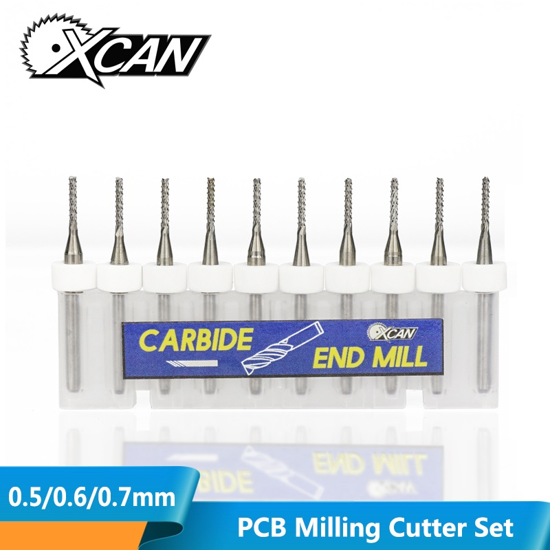 XCAN 10pcs 0.5/0.6/0.7mm 3.175mm Shank PCB Milling Cutter Fish Tail Milling Cutter Tungsten Carbide Mini End Mill