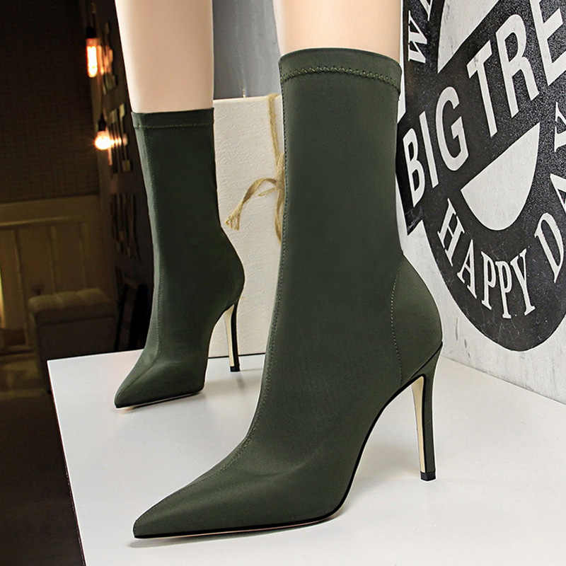 Bigtree ayakkabı yeni kadın çorap çorap çizmeler orta buzağı çizmeler seksi yüksek topuklu kadın kış çizmeler kadın kış kadın ayakkabı kadın pompaları