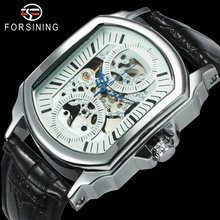 FORSINING Fashion Creative Automatic Mechanical Watch Men Skeleton Tonneau Dial Leather Strap Unique Casual Watches Dropshipping forsining fashion creative automatic mechanical watch men skeleton tonneau dial leather strap unique casual watches dropshipping