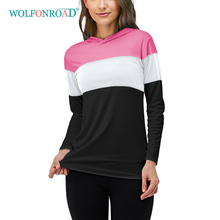 WOLFONROAD Quick Dry UPF 50+ T-Shirts Women #8217 s Sun Protection Outdoor Sports T Shirts Sunscreen Shirts Tops With Hoodie Female cheap Polyester Stretch Spandex NYLON Full LSTS172 Spring summer AUTUMN Winter Jerseys No Zipper Cycling Fits true to size take your normal size
