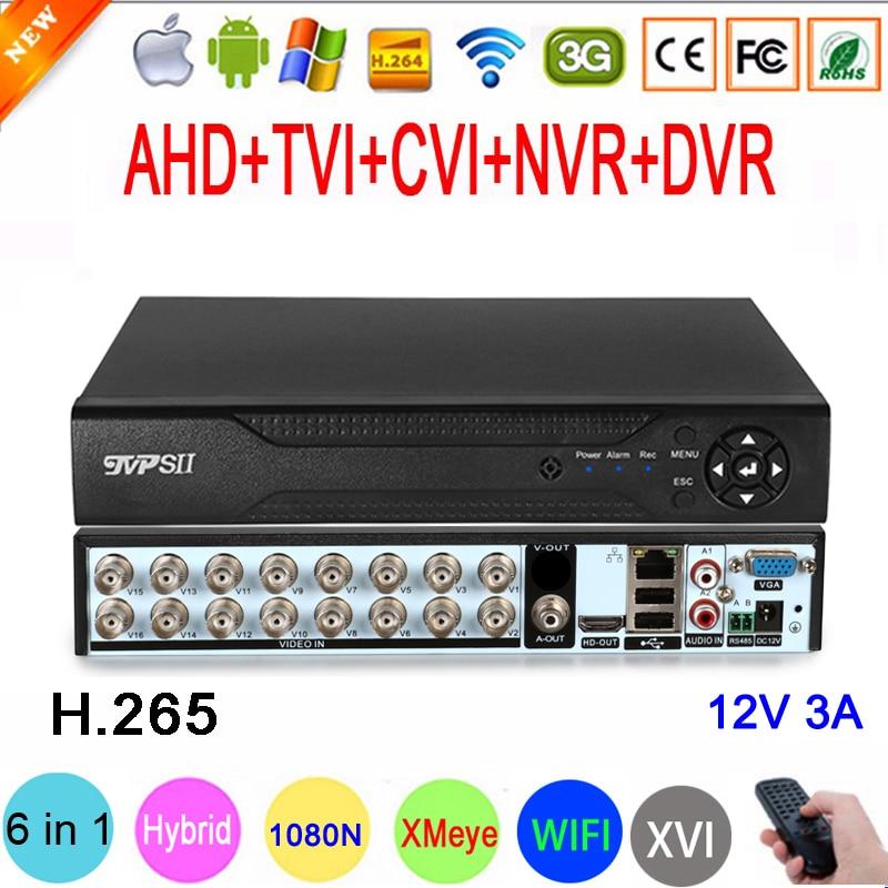 1080P 960P 720P CCTV Camera XMeye Hi3521D H 265  16 Channel 16CH 1080N 6 in 1 Hybrid Wifi TVi CVI NVR AHD DVR Video Recorder