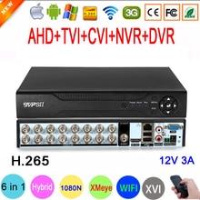 1080P,960P,720Pกล้องวงจรปิดกล้องXMeye Hi3521D H.265 + 16ช่อง16CH 1080N 6 In 1 Hybrid Wifi TVi CVI NVR AHD DVR