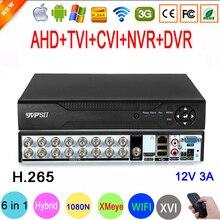 Cámara CCTV XMeye Hi3521D H.265 + 16 canales 16CH 1080N 6 en 1 Wifi híbrido TVi CVI NVR AHD grabador de vídeo DVR, 1080P,960P,720P