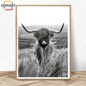 Black and White Highland Cow Print Farmhouse Decor Wall Art Canvas Painting Animal Large Posters Living Room Bedroom Pictures(China)