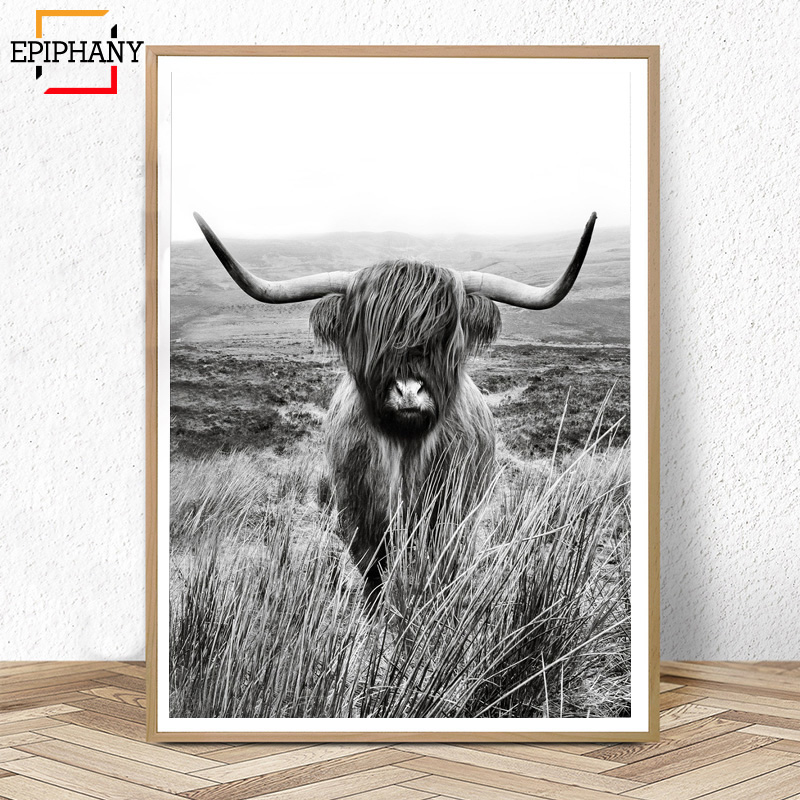 Black and White Highland Cow Print Farmhouse Decor Wall Art Canvas Painting Animal Large Posters Living Room Bedroom Pictures image