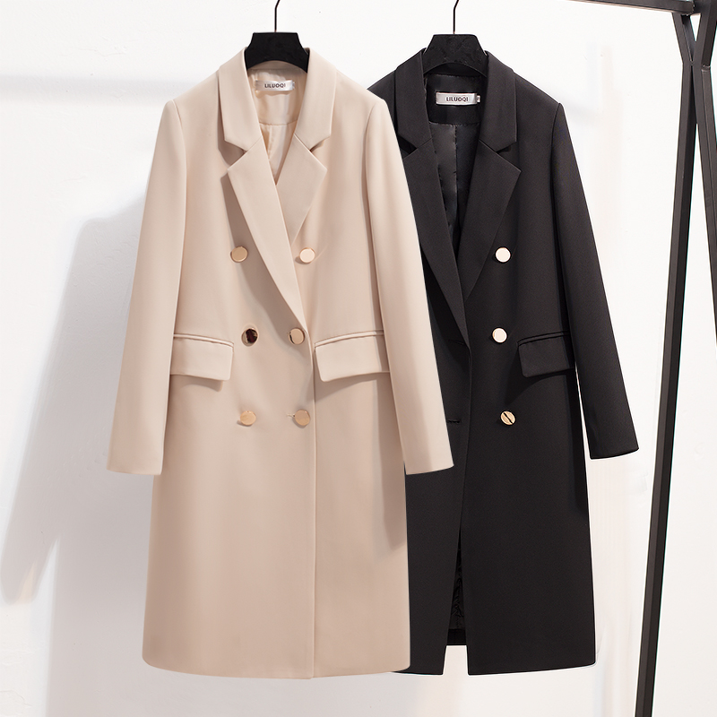 Autumn Spring Suit Blazer Women 2019 New Casual Double Breasted Women Long Jackets Elegant Long Sleeve Mid-Long Blazer Outerwear