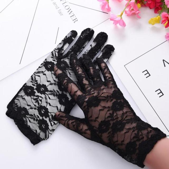 Fashion Women Lady Lace Party Sexy Dressy Gloves Summer Full Finger Sunscreen Gloves for Girls Mittens 2PCS 2