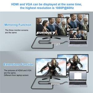 Image 3 - USB C Hub 5 IN 1 USB C HDMI VGA Dual Display Adapter con USB 3.0*3 HDMI 4K VGA 1080P @ 60HZ Thunderbolt 3 Tipo C Hub per Macbook