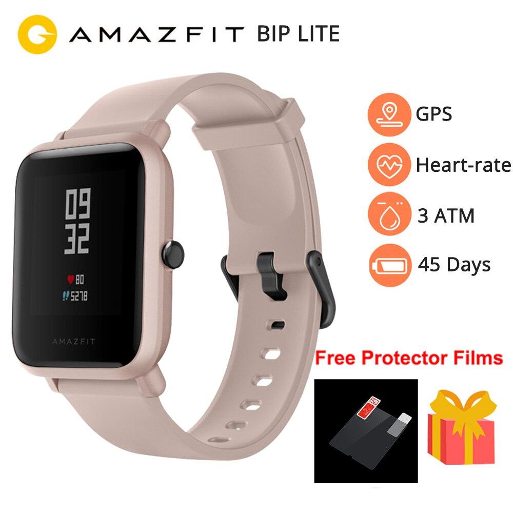 Novo 2019 amazfit bip lite relógio inteligente masculino versão global 45-day bateria vida 3atm água-resistência bluetooth smartwatch