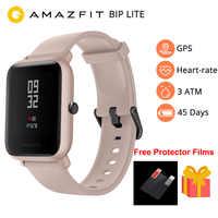 Nowy 2019 Amazfit Bip Lite inteligentny zegarek mężczyźni wersja globalna 45-jego bateria starcza na cały dzień pracy 3ATM wody odporność na smartwatch bluetooth