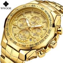 WWOOR золотые часы мужские Спорт хронограф большой мужские часы лучший бренд класса люкс военные стали водонепроницаемые наручные часы Relogio мужчина для