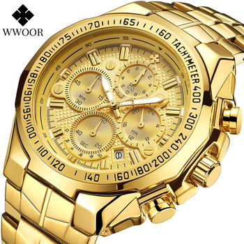 WWOOR Gold Watch Men Sport Chronograph Big Mens Watches Top Brand Luxury Military Steel Waterproof Wrist Watch Relogio Masculino relogio masculino wwoor luxury mens analog quartz business gold wrist watch men full steel waterproof sports watches male clocks