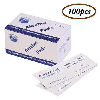 100pc Disposable Medical Sterilization Alcohol Disinfection Cotton Emergency Clean Sterilization Cotton Sheet Nail Cleaning Wipe