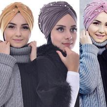 Wholesale Suede Beanie Bonnet Hooded Hat Nail Pearl Muslim H