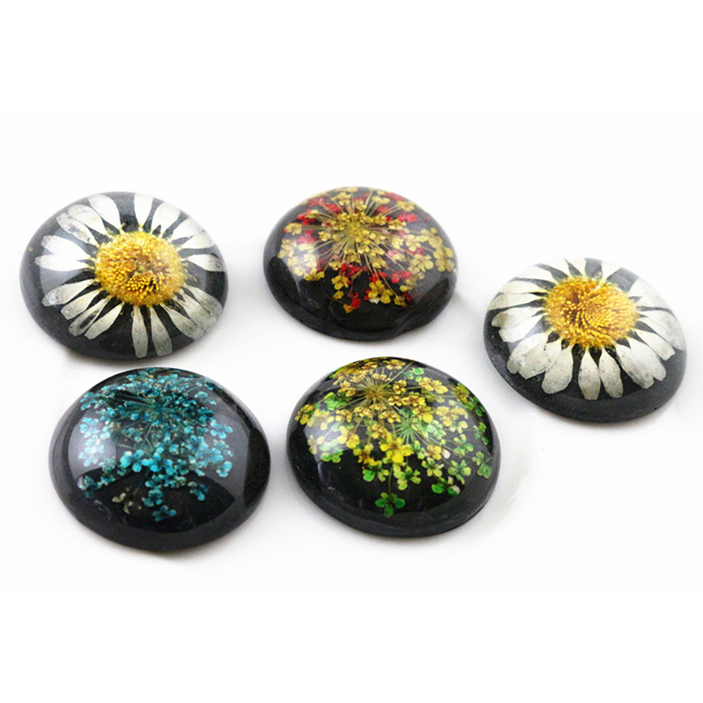 New Fashion 5pcs 25mm Mixed Natural Dried Flowers Flat Back Resin Cabochons Cameo  G3-25