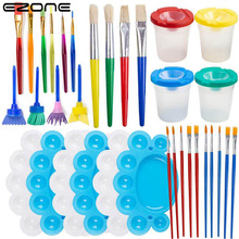 EZONE 34PCS Children Painting Foam Sponge Brush Sponge Paint Brushes Palette Graffiti Sponge Brush Tool Set