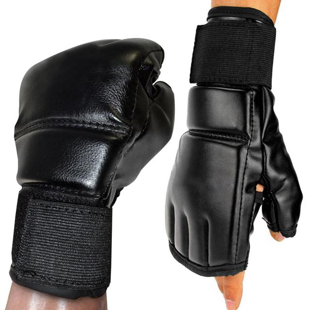 Black Fighting Sports Leather Gloves Tiger Boxing Muay Thai Boxing Gloves Boxing Sanda Boxing Half Finger Gloves 6