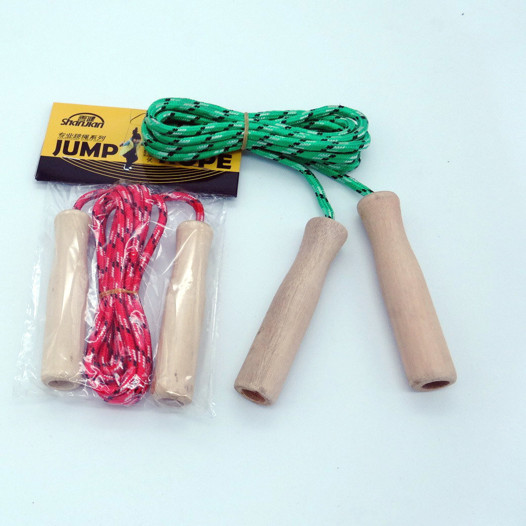 Skipping Rope With Wooden Handle Children Jump Rope Pattern Jump Rope Fitness Jump Rope Adjustable Rope Length