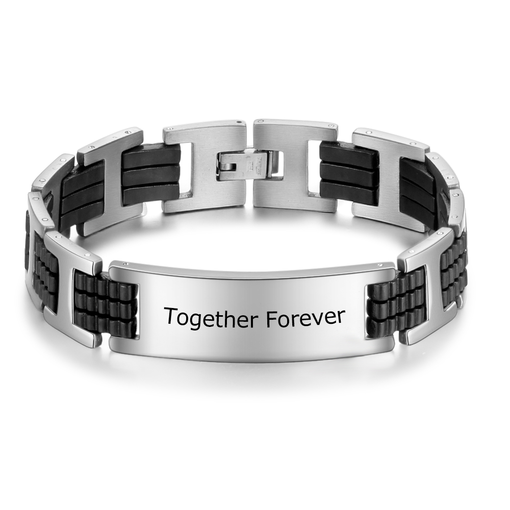 Personalized Bracelets Engraved Stainless Steel  Jewelry Customized Names Simple Style Trendy Bangle  Anniversary Gift For Men