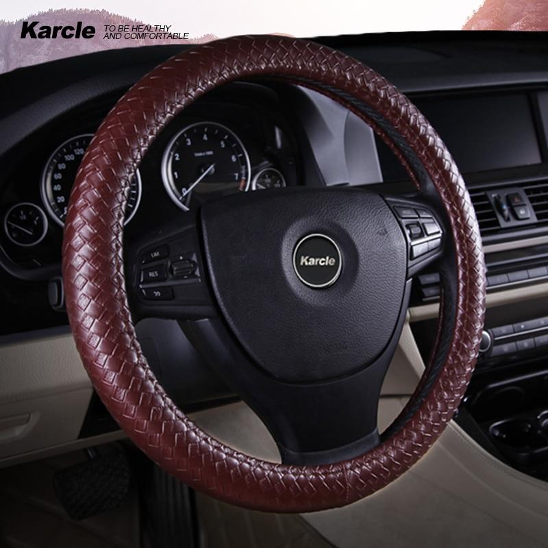 Karcle Flechten Stil Lenkrad Abdeckung Schutz PU Leder Lenkung Abdeckung Mit Inneren Ring Universal 15 Zoll Auto Styling