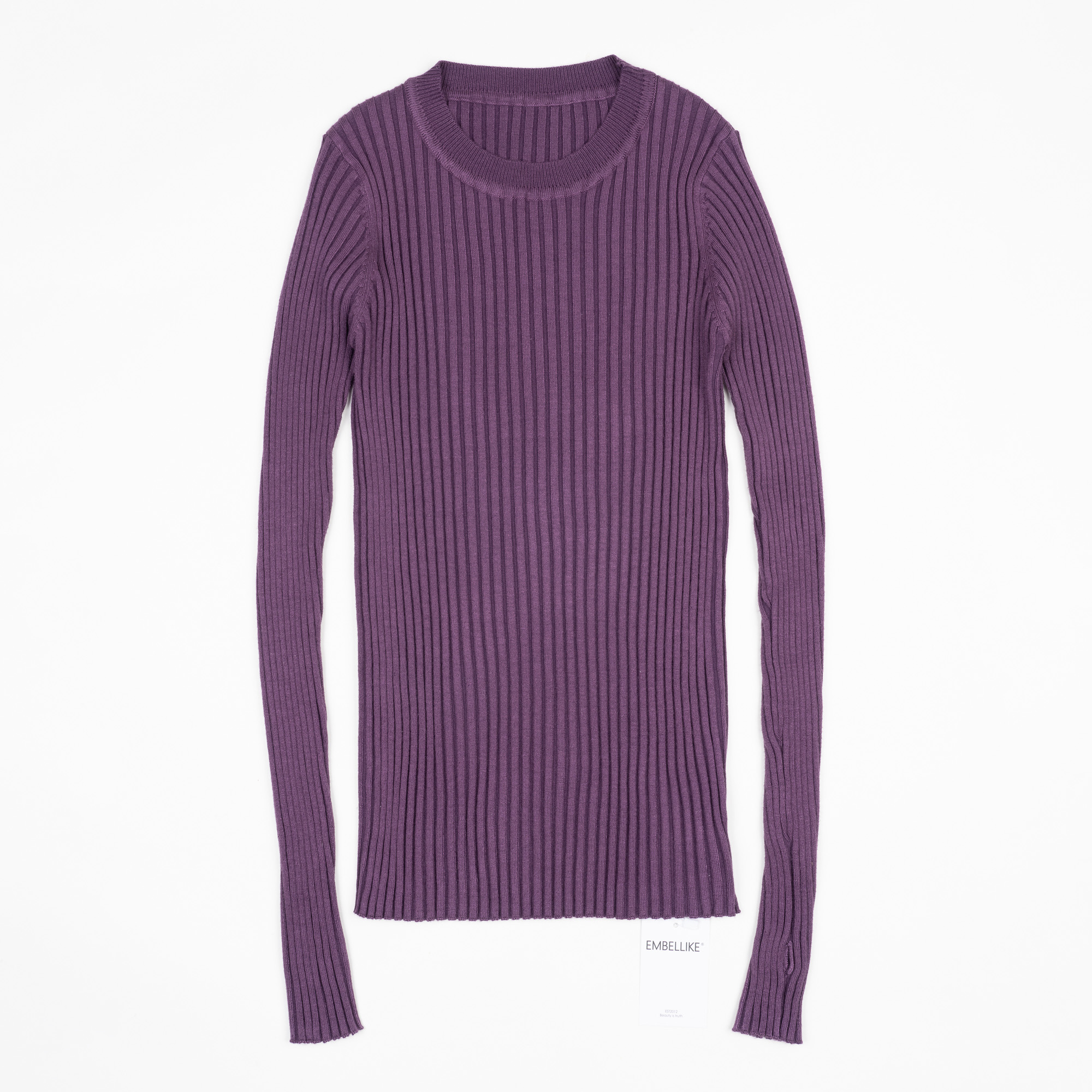 Women Sweater Pullover Basic Ribbed Sweaters Cotton Tops Knitted Solid Crew Neck With Thumb Hole 12