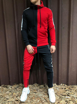Mens Tracksuit 2020 New Casual Sports Suit Fashion Trend Matching Color Slim European and American Fitness Men Hoodie