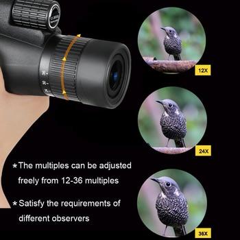 2021 Borwolf 12-36X50 Binoculars BAK4 Prism Optical Lens High Power Hunting Birdwatching Monocular Light Night Vision Telescope 2