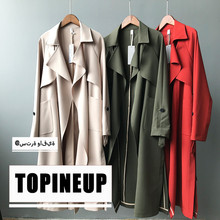 European and American High street-wear lapel Collar Spring trench overcoats  Military Style Womens long coats