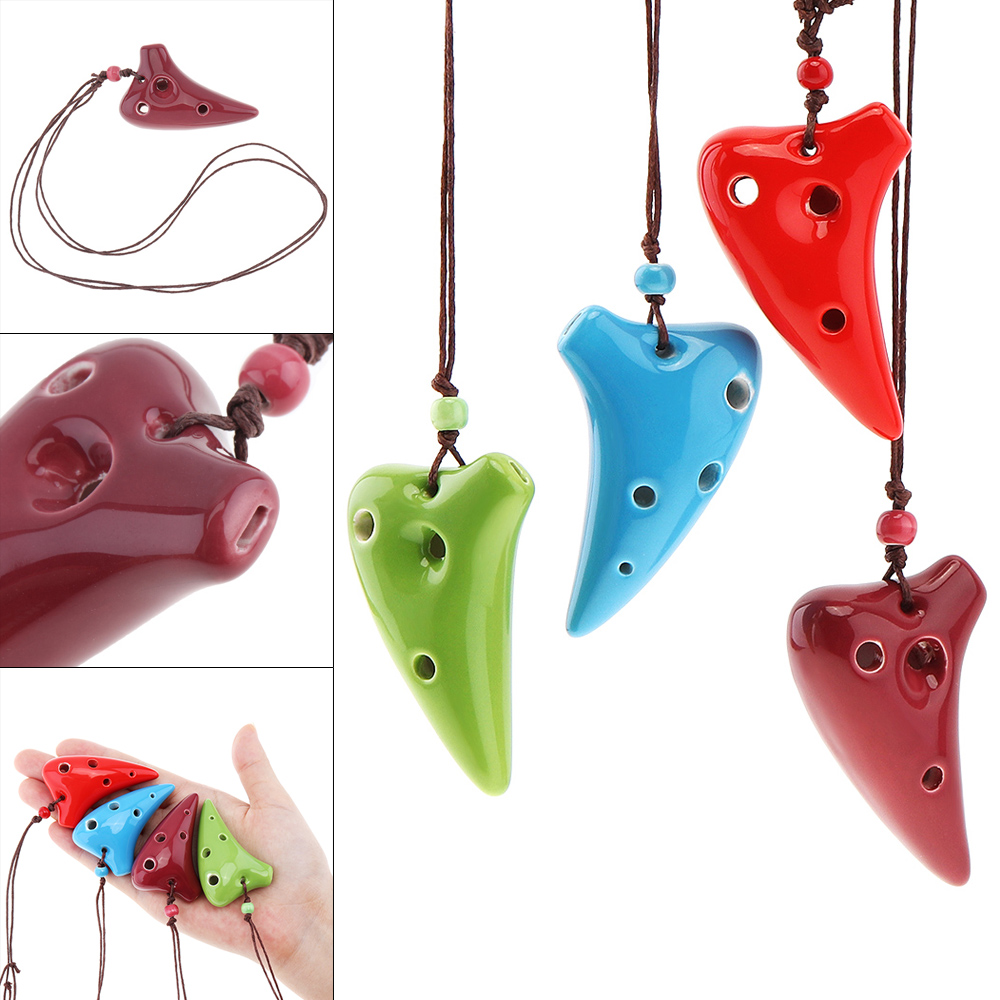 Mini Portable 6 Holes Alto ToneC Necklace Ocarina Ceramic Black Pottery Flute Instrument With Hang Rope 4 Colors Optional