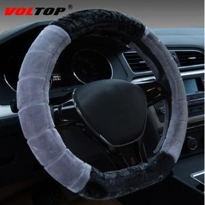 Image 2 - Plush Fur Steering Wheel Cover Car Accessories Decoration Ornaments Winter Universal 36 38cm Fashion Warm Non slip