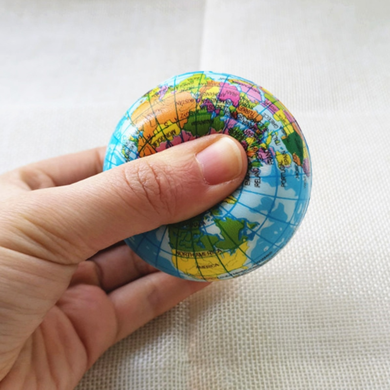 Baby Soft Squeeze Earth Globe Balls PU Foam World Map Balls Anti Stress Balls Toys For Kids Children 6.3cm