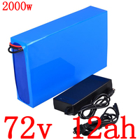 72V 1000W1500W 2000W electric scooter battery 72V 12AH lithium battery pack 72v 12ah electric bicycle battery with charger