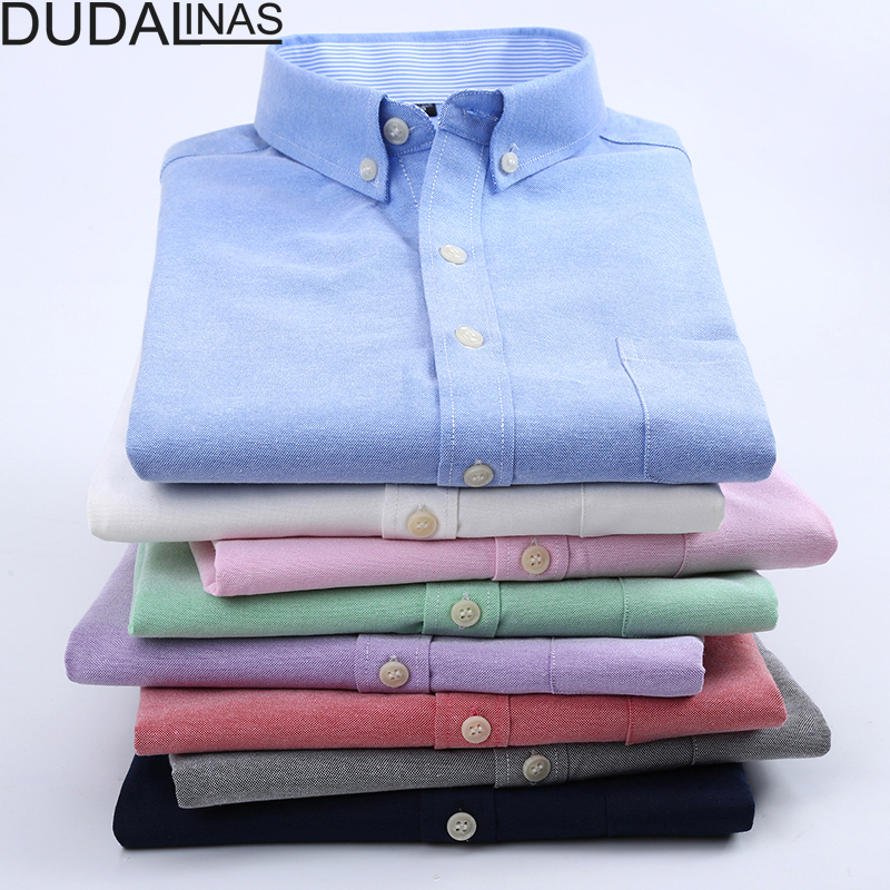 Dudalinas Camisa Social Masculina Manga short Oxford Camisa Male Shirts Men Shirt Brand Clothing Casual Slim Fit Chemise Homme 1