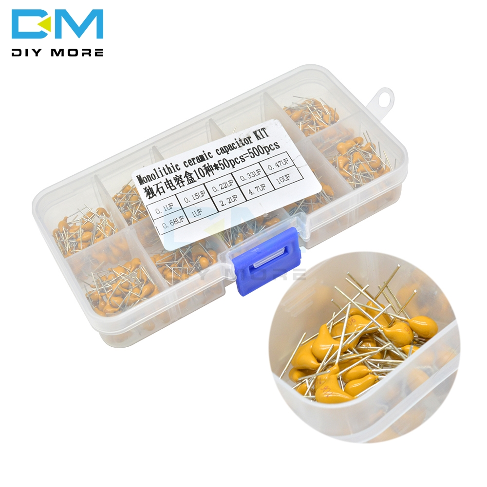 500pcs 10Values/50pc Multilayer Ceramic Capacitor Kit 0.1uf 0.15uf 0.22uf 0.33uf 0.47uf 0.68uf 1uf 2.2uf 4.7uf <font><b>10uf</b></font> <font><b>50V</b></font> with box image