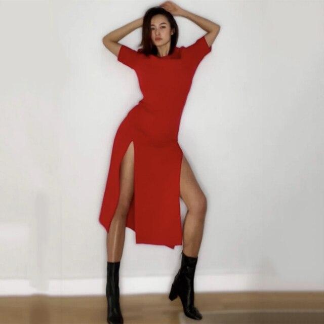 HWLZLTZHT 2021 New Casual Dress Split Party Long Dresses Women Summer New Bodycon Sstretch Slim Soft Midi Ddress Femme 5