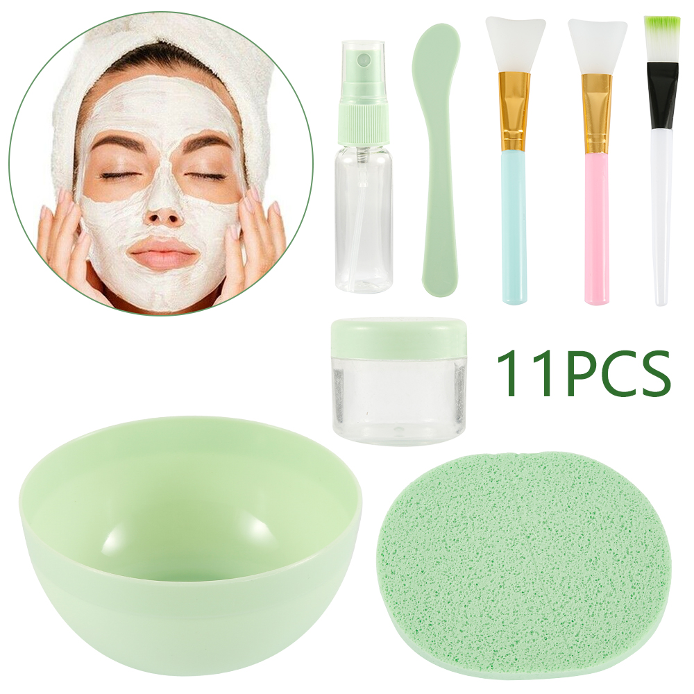11 In 1 DIY Facial Mask Mixing Bowl Brush Spoon Stick Tool Face Care Makeup Tool For Lady Pincel Maquiagem