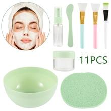 11 in 1 DIY Facial Mask Mixing Bowl Brush Spoon Stick Tool F