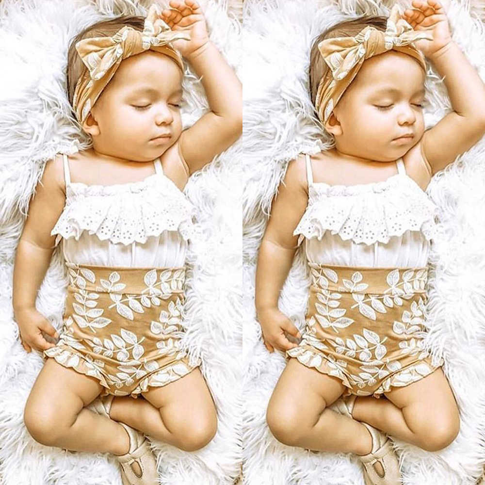 UK 3PCS Toddler Baby Girl 0-24M Summer Clothes Lace Sling Tops Floral Shorts Outfits