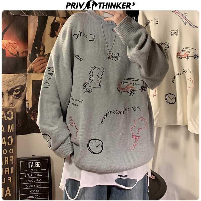 Privathinker2020 가을 겨울 남성 풀오버 캐주얼 스웨터 남성 니트 한국 스웨터 카톤 인쇄 망 패션 새 옷