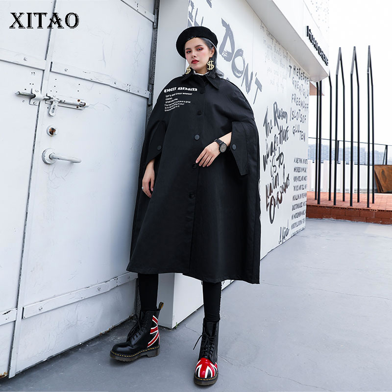 XITAO Print Letter Pattern   Trench   Women Fashion 2019 Autumn Single Breast Pocket Plus Size Elegant Casual Style Coat ZYQ1935
