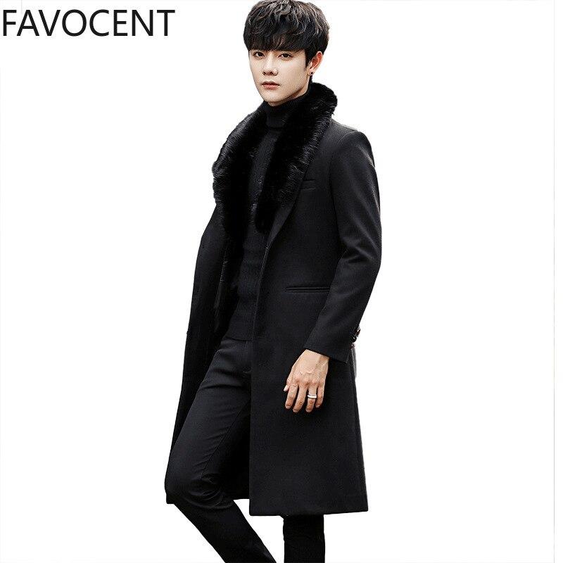 Winter New Mens Wool Coat Jackets Korean Slim Fur Collar Male Long Woolen Trench Coat Tide Warm Fashion Casual Long Jacket Solid