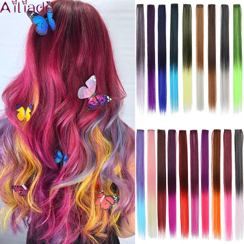 AILIADE 32Colors 22inch Single Clip In One Piece Hair Extensions Synthetic Long Straight Ombre Grey Red Rainbow Hair Piece