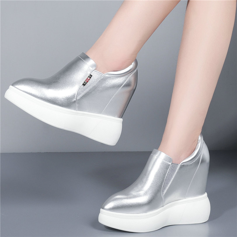 Trainers Women Pointed Toe Cow Leather Wedge Platform High Heel Oxfords Shoes Walking Loafers Punk Tennis Shoes Vulcanized Shoes in Women 39 s Vulcanize Shoes from Shoes
