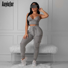 Auyiufar Fitness Active Wear Women Sporty Set Sleeveless V Neck Tank And Pants 2019 Casual Workout 2 Piece Outfits Fashion