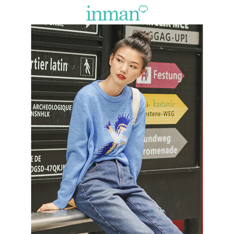 INMAN 2019 Winter New Arrival O-neck Drop-shoulder Sleeve Emrboidery Cute Literary All Matched Women Pullover